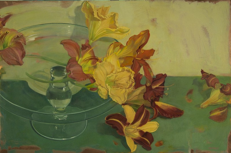 "Benjamin Shamback - ""Day Lilies and Cake Plate"""