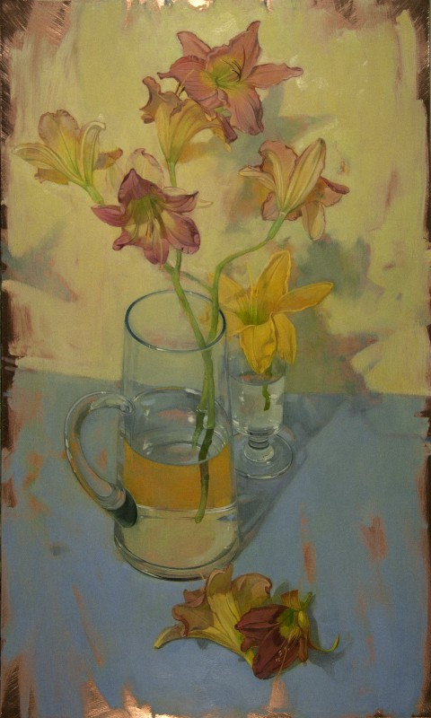 "Benjamin Shamback - ""Day Lilies on Blue Table"""