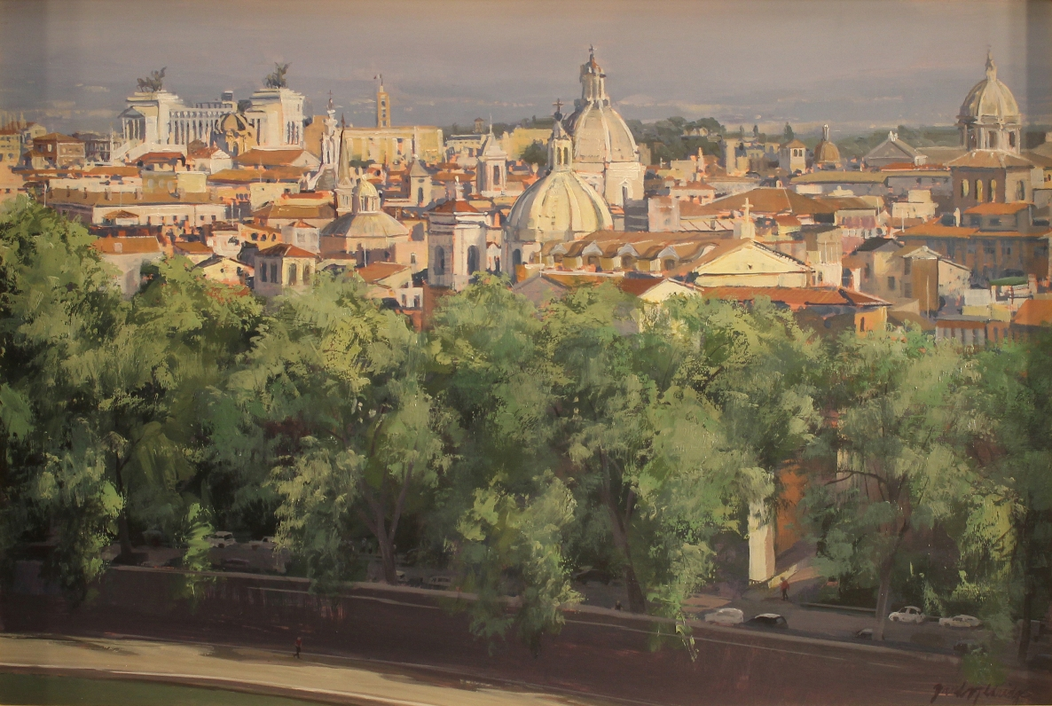 "Brad Aldridge - ""A Walk by the Tiber (view of Rome from Castel Sant' Angelo"""