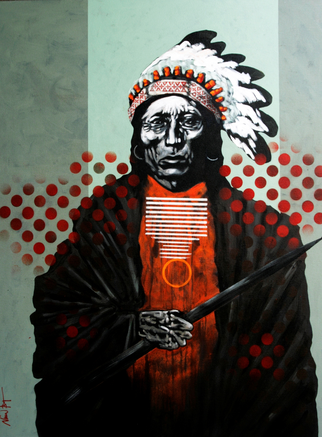 "Nocona Burgess - ""Medicine Crow in War Bonnet"""